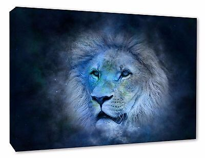 - Lion Wall Picture Leo Astrology Canvas Print Blue Wall Art Picture Print A1/A2
