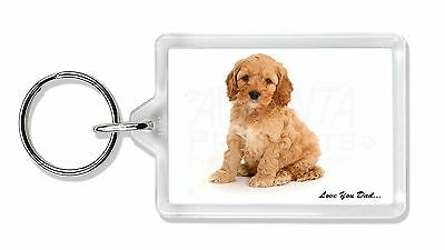 Cockerpoodle 'Love You Dad' Photo Keyring Animal Gift, DAD-19K