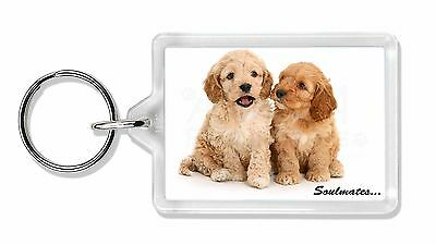 Cockerpoodle Puppy Dogs 'Soulmates' Photo Keyring Animal Gift, SOUL-27K