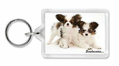 Papillon Puppy Dog 'Soulmates' Photo Keyring Animal Gift, SOUL-44K