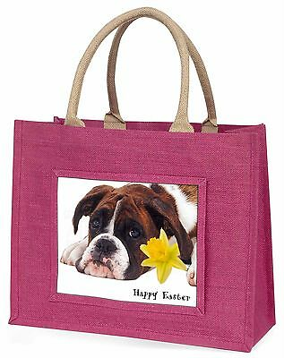 Boxer Dog 'Personalised' Large Pink Shopping Bag Christmas Present, AD-B41DA1BLP
