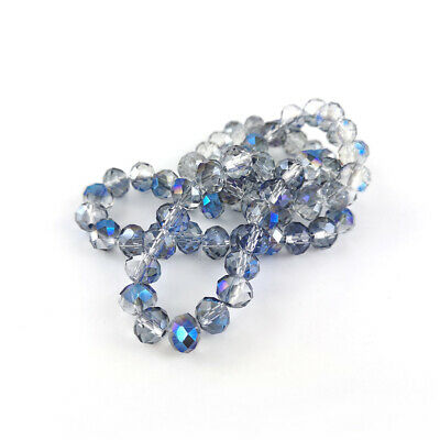 Czech Crystal Glass Faceted Rondelle Beads 6 x 8mm Blue/Clear 70+  Pcs Art Hobby