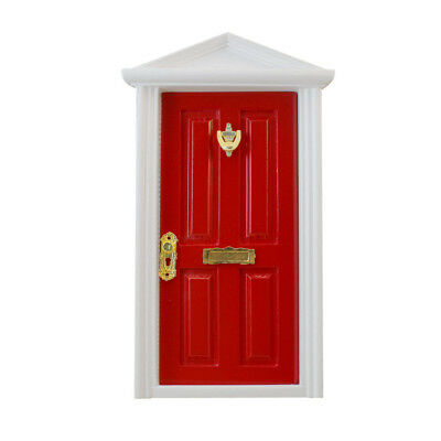 Red Wooden Fairy Front Door with Hardware Dolls House Miniature Accessory