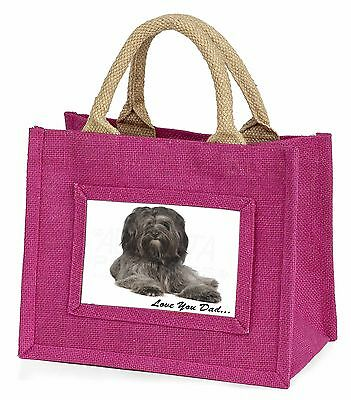 Tibetan Terrier Dog 'Love You Dad' Little Girls Small Pink Shopping , DAD-192BMP