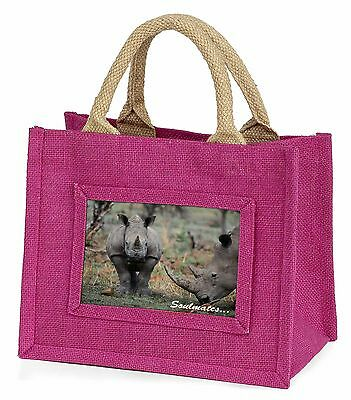 Two Rhino's in Love 'Soulmates' Little Girls Small Pink Shopping Bag, SOUL-77BMP