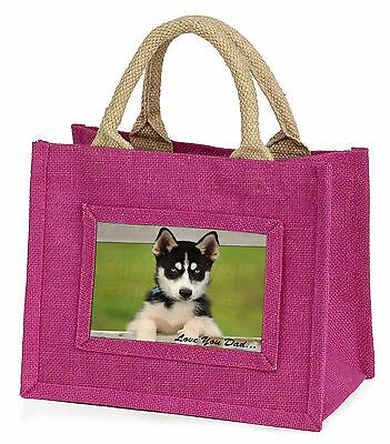 Husky Pup 'Love You Dad' Little Girls Small Pink Shopping Bag Christm, DAD-56BMP