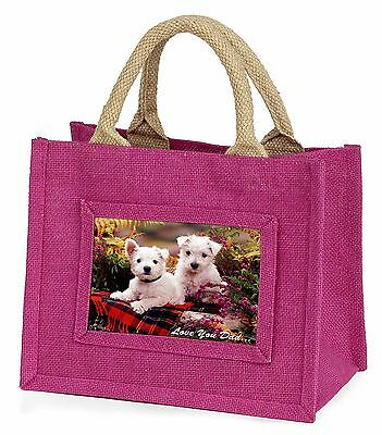 West Highland Dogs 'Dad' Little Girls Small Pink Shopping Bag Christ, DAD-129BMP