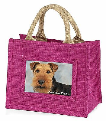 Welsh Terrier Dog 'Love You Dad' Little Girls Small Pink Shopping Ba, DAD-136BMP