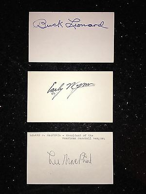 13 Different Baseball Hall Of Fame Autographed Signed Index Cards