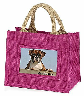 Boxer Dog Pup 'Love You Dad' Little Girls Small Pink Shopping Bag Ch, DAD-164BMP