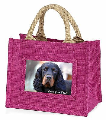 Gordon Setter 'Love You Dad' Little Girls Small Pink Shopping Bag Chr, DAD-38BMP