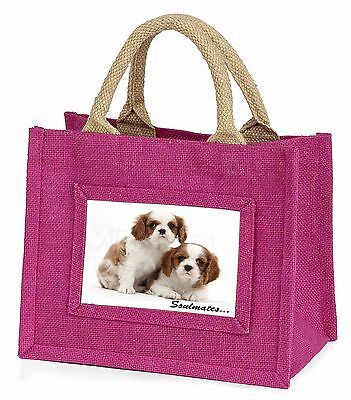 King Charles Pups 'Soulmates' Little Girls Small Pink Shopping Bag C, SOUL-56BMP