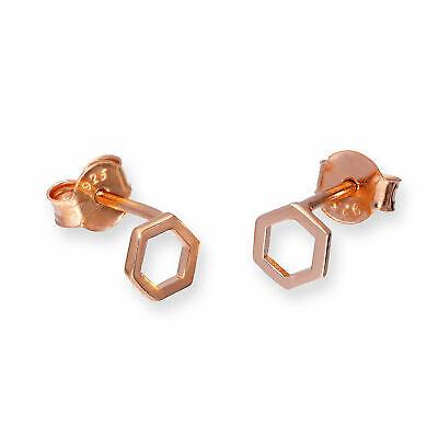 Real 925 Rose Gold Dipped Sterling Silver Hexagon Outline Stud Earrings