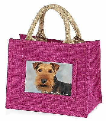 Welsh Terrier 'Love You Grandma' Little Girls Small Pink Shopping , AD-WT1lygBMP