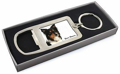"Tri-colour Border Collie Dog ""Yours Forever..."" Chrome Metal Bottle, AD-CO33yMBO"