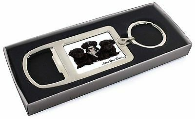 Yorkipoo Pups 'Love You Dad' Chrome Metal Bottle Opener Keyring in B, DAD-139MBO