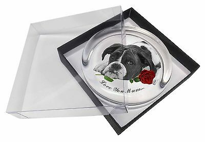 Boxer Dog (B+W) 'Love You Mum' Glass Paperweight in Gift Box Chri, AD-B41R2lymPW