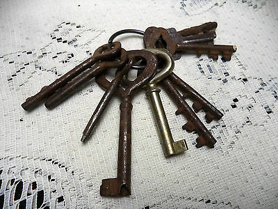 Rusty LOT Skeleton Keys Unusual Shape Bow Head Weird Bit Ends 10 Old Keys
