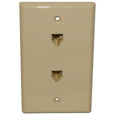 Flush Mount Wall Plate with (2) 4 Wire Phone Jacks, Almond
