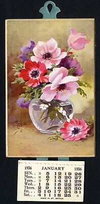 CALENDAR for 1936 - Pretty Pink Flowers in Vase - Complete Pad