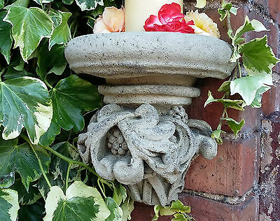 Stone Garden Acanthus Corbel Gothic Wall Candle Shelf Plaque Ornament
