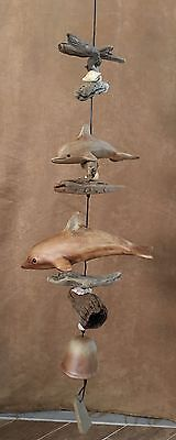 "Dolphin 54"" Hand Crafted Stoneware clay shell drift Wood Wind Chime bell beach"