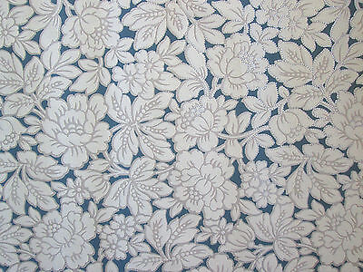 Vintage 1940's French blue cream flowers silver dots wallpaper roll