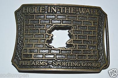 "Vintage ""Hole In the Wall"" Firearms Sporting Goods Gun Shop Belt Buckle RARE"