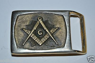 Vintage FREEMASONS 24K Gold Plated Small Slim Dress Belt Buckle Rare