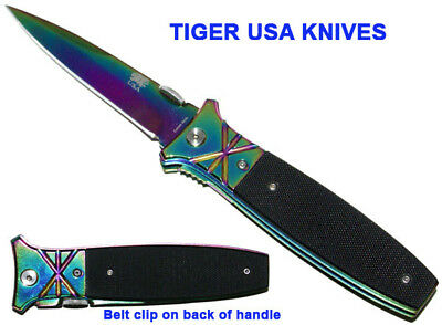 NEW Spring Assisted Knife Assist Opening Pocket Knife Rainbow G10
