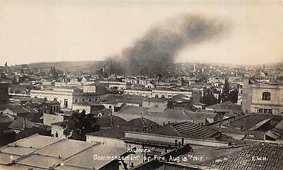 Salonica, Greece,  Town Overview Showing Start Of 1917 Fire, Real Photo Pc