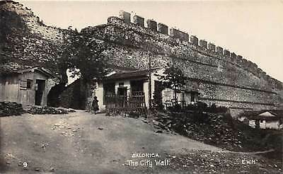 SALONICA, GREECE ~ THE CITY WALL & HOMES, REAL PHOTO PC ~ dated 1922