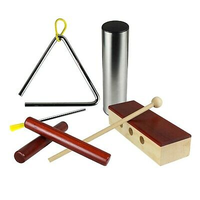 Artist Percussion Pack - Claves, Triangle, Wood Block and Shaker - New