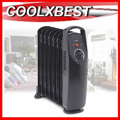New Compact 7 Fin Oil Column Heater Adj Thermostat No Noise Bedroom Study