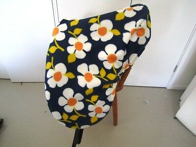 Horse Saddle cover Navy with Flowers FREE EMBROIDERY Australian Made Protection