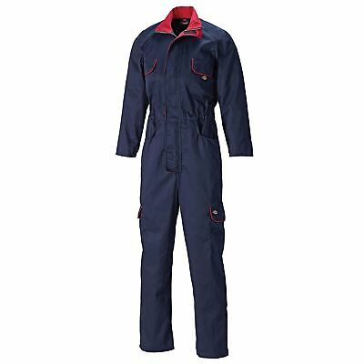 Dickies WD4839WN Navy/Red Womens/Ladies Redhawk Zip Work Overalls/Coverall/Suit