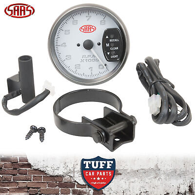 SAAS Tacho Gauge Electric White Face 95mm Multi Colour Tachometer + Fitting Kit
