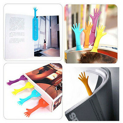 4 Pcs Mullti-color Funny Help Hand Shape Plastic Bookmarks Clips Stationary