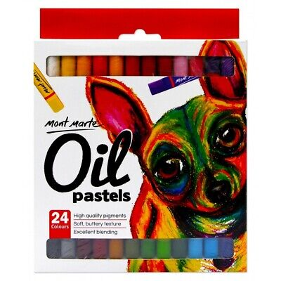Mont Marte Oil Pastels 24pce, High Quality Pigment Colours