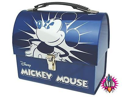 Official Disney Classic Mickey Mouse Domed Lunch Tin Tote Box New
