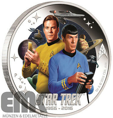 Tuvalu - 1 Dollar 2016 - Star Trek - Captain Kirk & Spock - 1 Oz. Silber PP