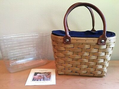 Longaberger Small Boardwalk Purse Basket w/ Indigo Blue Liner & Protector