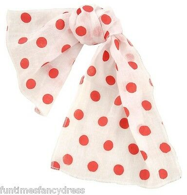 1950's Pink Ladies Red & White Polka Dot Dotty Scarf Grease 50's Fancy Dress