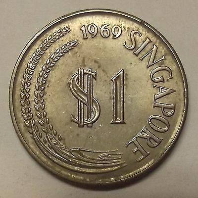 """1969 Singapore One Dollar """"almost Uncirculated"""" $1 Coin (Lot #1)"""