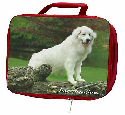 Pyrenean Mountain Dog 'Love You Mum' Insulated Red Lunch Box, AD-PM1lymLBR