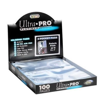 100 Ultra Pro Platinum Hologram 2-Pocket Page for 5x7 Photos / Postcards