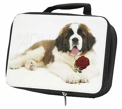 St. Bernard Dod with Red Rose Black Insulated Lunch Box, AD-SBE5RLBB