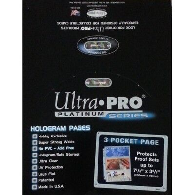 50 Ultra Pro Platinum Hologram 3-Pocket Page for 3-1/2x7-1/2 for Currency