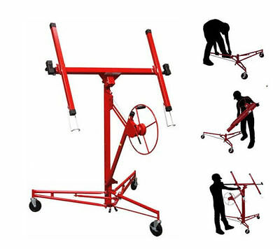 Heavy Duty Portable Drywall Panel Lift Sheetrock Hoist Winch Holder Wheel Tool