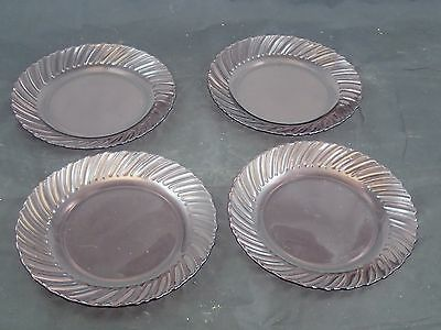"""Set Of Four Mexico Cranberry Purple Glass Swirl 7"""" Salad Plates Corning Vision"""